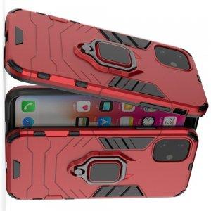 Hybrid Armor Ring Противоударный защитный двухслойный чехол с кольцом под палец подставкой держателем для iPhone 11 Красный