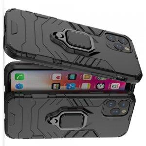 Hybrid Armor Ring Противоударный защитный двухслойный чехол с кольцом под палец подставкой держателем для iPhone 11 Pro Черный