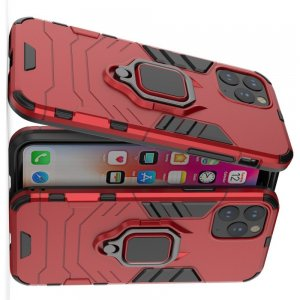 Hybrid Armor Ring Противоударный защитный двухслойный чехол с кольцом под палец подставкой держателем для iPhone 11 Pro Красный