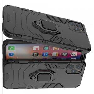 Hybrid Armor Ring Противоударный защитный двухслойный чехол с кольцом под палец подставкой держателем для iPhone 11 Pro Max Черный