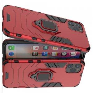 Hybrid Armor Ring Противоударный защитный двухслойный чехол с кольцом под палец подставкой держателем для iPhone 11 Pro Max Красный