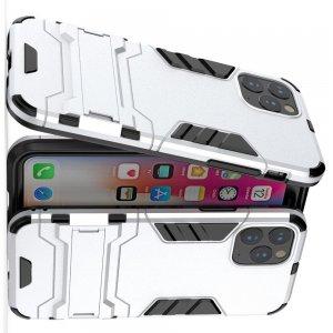 Hybrid Armor Ring Противоударный защитный двухслойный чехол с кольцом под палец подставкой держателем для iPhone 11 Pro Max Серебряный