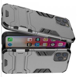 Hybrid Armor Ring Противоударный защитный двухслойный чехол с кольцом под палец подставкой держателем для iPhone 11 Pro Max Серый
