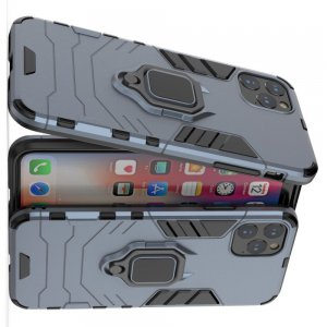 Hybrid Armor Ring Противоударный защитный двухслойный чехол с кольцом под палец подставкой держателем для iPhone 11 Pro Max Синий