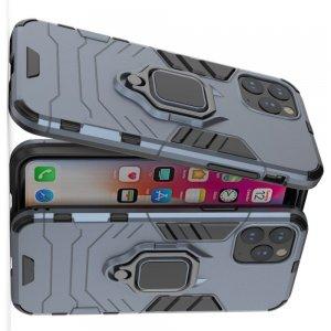Hybrid Armor Ring Противоударный защитный двухслойный чехол с кольцом под палец подставкой держателем для iPhone 11 Pro Синий