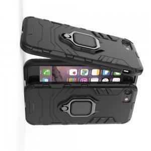 Hybrid Armor Ring Противоударный защитный двухслойный чехол с кольцом под палец подставкой держателем для iPhone SE 2020 / iPhone 8 / iPhone 7 Черный