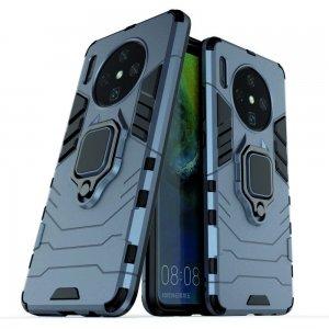 Hybrid Armor Ring Противоударный защитный двухслойный чехол с кольцом под палец подставкой держателем для OnePlus 7T Синий