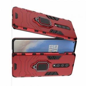Hybrid Armor Ring Противоударный защитный двухслойный чехол с кольцом под палец подставкой держателем для OnePlus 8 Красный