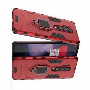 Hybrid Armor Ring Противоударный защитный двухслойный чехол с кольцом под палец подставкой держателем для OnePlus 8 Pro Красный