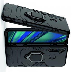 Hybrid Armor Ring Противоударный защитный двухслойный чехол с кольцом под палец подставкой держателем для OPPO Realme 5 Pro Черный