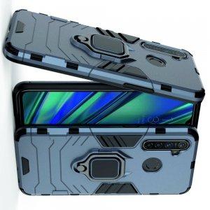 Hybrid Armor Ring Противоударный защитный двухслойный чехол с кольцом под палец подставкой держателем для OPPO Realme 5 Pro Синий