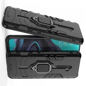 Hybrid Armor Ring Противоударный защитный двухслойный чехол с кольцом под палец подставкой держателем для OPPO Reno 2 Черный