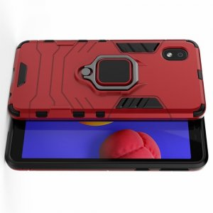 Hybrid Armor Ring Противоударный защитный двухслойный чехол с кольцом под палец подставкой держателем для Samsung Galaxy A01 Core Красный