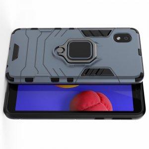 Hybrid Armor Ring Противоударный защитный двухслойный чехол с кольцом под палец подставкой держателем для Samsung Galaxy A01 Core Синий