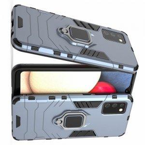 Hybrid Armor Ring Противоударный защитный двухслойный чехол с кольцом под палец подставкой держателем для Samsung Galaxy A02s Синий