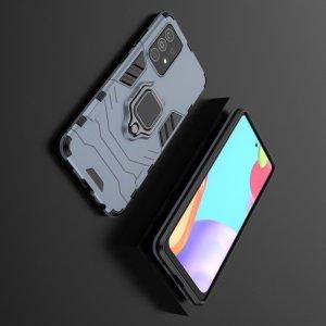 Hybrid Armor Ring Противоударный защитный двухслойный чехол с кольцом под палец подставкой держателем для Samsung Galaxy A52 Синий