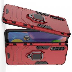 Hybrid Armor Ring Противоударный защитный двухслойный чехол с кольцом под палец подставкой держателем для Samsung Galaxy A70s Красный