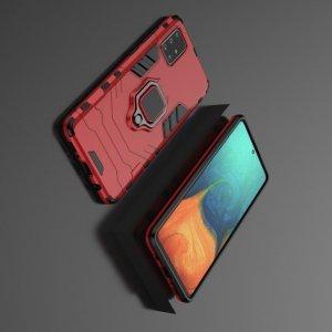 Hybrid Armor Ring Противоударный защитный двухслойный чехол с кольцом под палец подставкой держателем для Samsung Galaxy A71 Красный