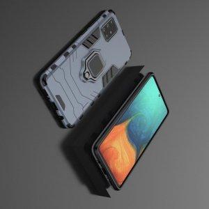 Hybrid Armor Ring Противоударный защитный двухслойный чехол с кольцом под палец подставкой держателем для Samsung Galaxy A71 Синий