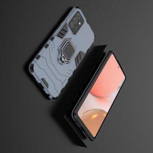 Hybrid Armor Ring Противоударный защитный двухслойный чехол с кольцом под палец подставкой держателем для Samsung Galaxy A72 Синий