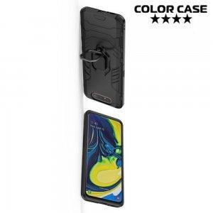 Hybrid Armor Ring Противоударный защитный двухслойный чехол с кольцом под палец подставкой держателем для Samsung Galaxy A80 / A90 Черный