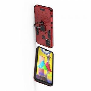 Hybrid Armor Ring Противоударный защитный двухслойный чехол с кольцом под палец подставкой держателем для Samsung Galaxy M31 Красный