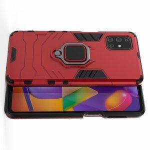 Hybrid Armor Ring Противоударный защитный двухслойный чехол с кольцом под палец подставкой держателем для Samsung Galaxy M31s Красный