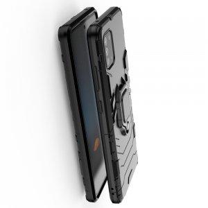 Hybrid Armor Ring Противоударный защитный двухслойный чехол с кольцом под палец подставкой держателем для Samsung Galaxy Note 10 Lite Черный