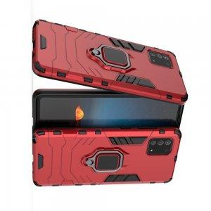 Hybrid Armor Ring Противоударный защитный двухслойный чехол с кольцом под палец подставкой держателем для Samsung Galaxy Note 10 Lite Красный