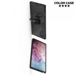 Hybrid Armor Ring Противоударный защитный двухслойный чехол с кольцом под палец подставкой держателем для Samsung Galaxy Note 10+ Черный