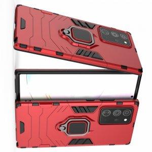 Hybrid Armor Ring Противоударный защитный двухслойный чехол с кольцом под палец подставкой держателем для Samsung Galaxy Note 20 Ultra Красный
