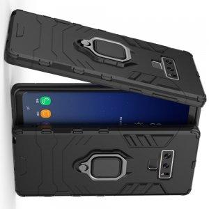 Hybrid Armor Ring Противоударный защитный двухслойный чехол с кольцом под палец подставкой держателем для Samsung Galaxy Note 9 Черный