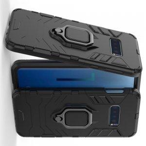 Hybrid Armor Ring Противоударный защитный двухслойный чехол с кольцом под палец подставкой держателем для Samsung Galaxy S10 Lite Черный