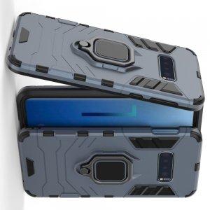 Hybrid Armor Ring Противоударный защитный двухслойный чехол с кольцом под палец подставкой держателем для Samsung Galaxy S10 Lite Синий