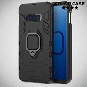 Hybrid Armor Ring Противоударный защитный двухслойный чехол с кольцом под палец подставкой держателем для Samsung Galaxy S10e Черный