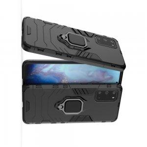 Hybrid Armor Ring Противоударный защитный двухслойный чехол с кольцом под палец подставкой держателем для Samsung Galaxy S20 Черный