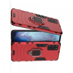 Hybrid Armor Ring Противоударный защитный двухслойный чехол с кольцом под палец подставкой держателем для Samsung Galaxy S20 Красный