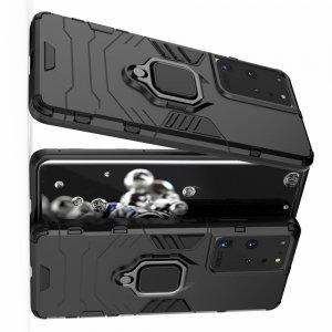 Hybrid Armor Ring Противоударный защитный двухслойный чехол с кольцом под палец подставкой держателем для Samsung Galaxy S21 Ultra Черный