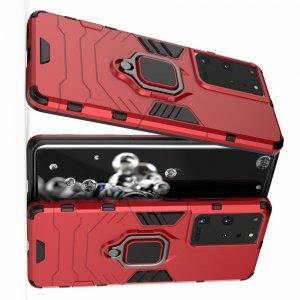 Hybrid Armor Ring Противоударный защитный двухслойный чехол с кольцом под палец подставкой держателем для Samsung Galaxy S21 Ultra Красный