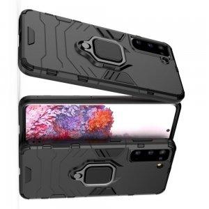 Hybrid Armor Ring Противоударный защитный двухслойный чехол с кольцом под палец подставкой держателем для Samsung Galaxy S21 Черный