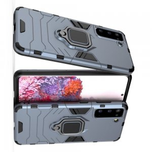 Hybrid Armor Ring Противоударный защитный двухслойный чехол с кольцом под палец подставкой держателем для Samsung Galaxy S21 Синий