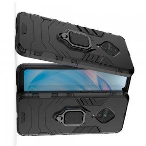 Hybrid Armor Ring Противоударный защитный двухслойный чехол с кольцом под палец подставкой держателем для vivo V17 Черный