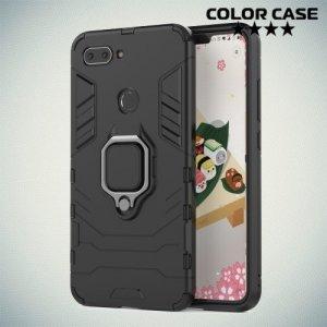 Hybrid Armor Ring Противоударный защитный двухслойный чехол с кольцом под палец подставкой держателем для Xiaomi Mi 8 Lite Черный