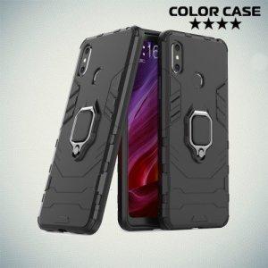Hybrid Armor Ring Противоударный защитный двухслойный чехол с кольцом под палец подставкой держателем для Xiaomi Mi Max 3 Черный