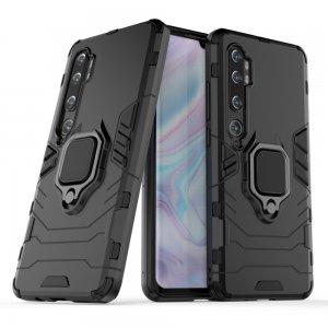 Hybrid Armor Ring Противоударный защитный двухслойный чехол с кольцом под палец подставкой держателем для Xiaomi Mi Note 10 Черный