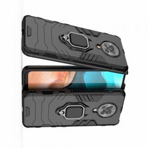 Hybrid Armor Ring Противоударный защитный двухслойный чехол с кольцом под палец подставкой держателем для Xiaomi Poco F2 Pro Черный