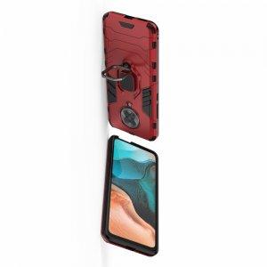Hybrid Armor Ring Противоударный защитный двухслойный чехол с кольцом под палец подставкой держателем для Xiaomi Poco F2 Pro Красный