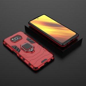 Hybrid Armor Ring Противоударный защитный двухслойный чехол с кольцом под палец подставкой держателем для Xiaomi Poco X3 NFC Красный
