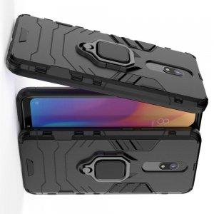 Hybrid Armor Ring Противоударный защитный двухслойный чехол с кольцом под палец подставкой держателем для Xiaomi Redmi 8A Черный