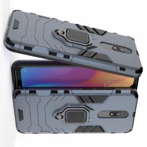 Hybrid Armor Ring Противоударный защитный двухслойный чехол с кольцом под палец подставкой держателем для Xiaomi Redmi 8A Синий